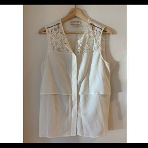 Michael Kors White Button Up with lace and zippers